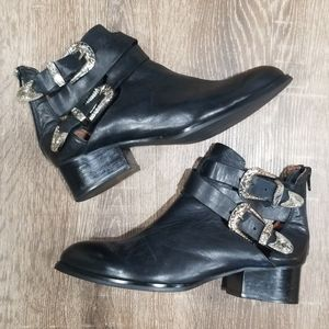 Jeffrey Campbell Everly black leather buckle boots
